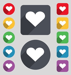 Heart Love icon sign A set of 12 colored buttons vector image