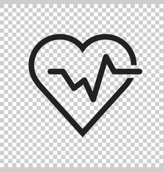 Heartbeat line with heart icon in flat style vector