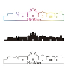Heraklion skyline linear style with rainbow vector image