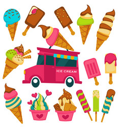 Ice cream cartoon bright flavors icons on vector