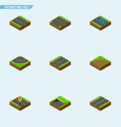 Isometric road set of subway driveway plane and vector