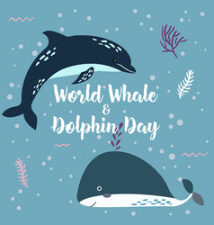 July 23 - the world day of whales and dolphins vector