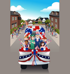 Kids in a parade celebrating fourth of july vector