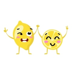 Lemon Cute fruit character couple isolated vector