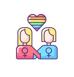 Lesbian relationship logo rgb color icon vector