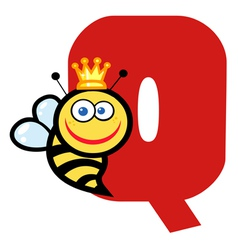 Letter Q With A Queen Bee vector