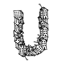 Letter U made from houses alphabet design vector