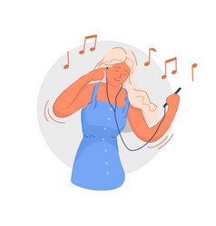 listening to audio smiling young woman listening vector image
