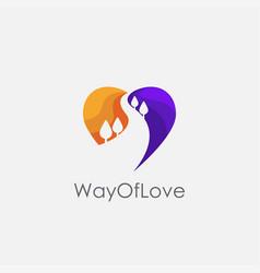 love and nature way logo icon way logo vector image