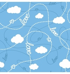 Love Hearts and Clouds Seamless Pattern vector image