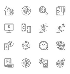 money icons with dollar sign in thin line vector image