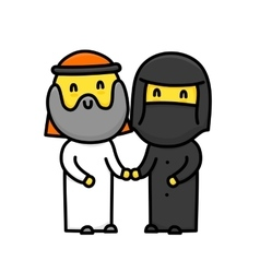 Muslim cartoon style cute standing family couple vector
