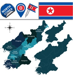 North korea map with named divisions vector