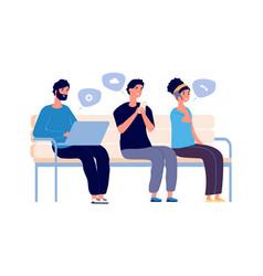 people chatting woman man using smartphones vector image