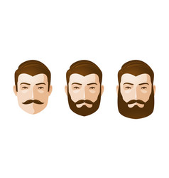 portrait beautiful men man with beard and vector image