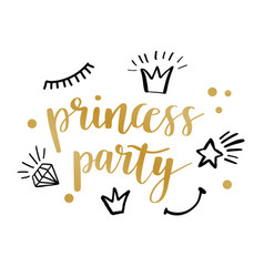 Princess party card design vector