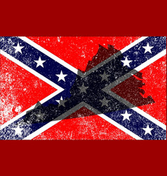 Rebel civil war flag with virginia map vector