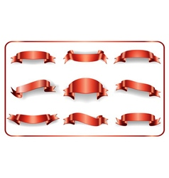 Red ribbons set on white 1 vector image