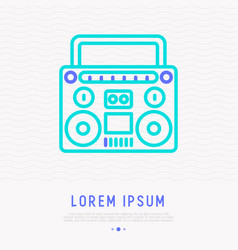 retro cassette player thin line icon vector image