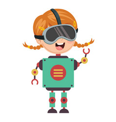 Robotic girl vector