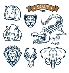 Safari hunting club animals icons set vector