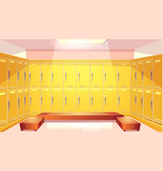 school changing room with lockers vector image