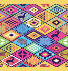 seamless ethnic pattern with rhombuses arrows and vector image