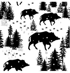 seamless pattern with wild boars vector image