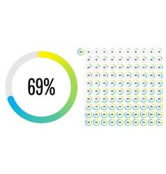 Set circle percentage diagrams meters from 0 vector