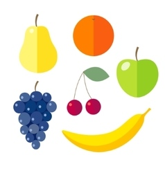 Set of flat design icons for fruits vector image