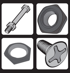 set of icons with bolts and nuts vector image