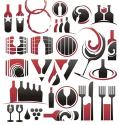 Set wine icons symbols signs and logos vector