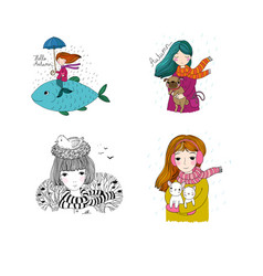 set with cute autumn pictures october postcards vector image