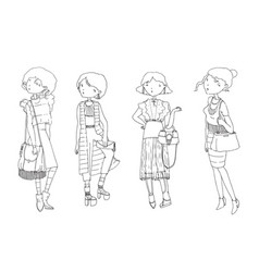 set with hand drawn fashion girls in casual vector image