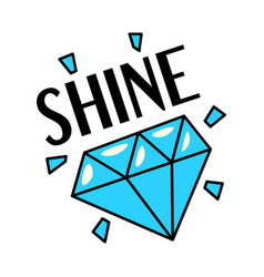 Shining blue diamond gemstone retro style sticker vector