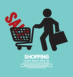 Shopper With Shopping Cart Symbol vector