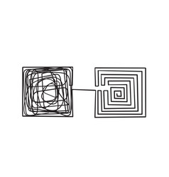 simplifying complex with hand drawn doodle vector image