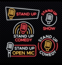 stand up comedy bright neon signs vector image