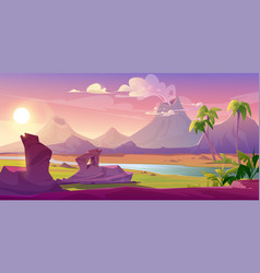 steaming volcanoes cartoon volcanic background vector image