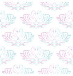 swan pair seamless pattern vector image