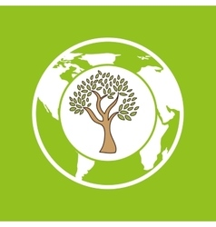 symbol ecology tree global icon vector image