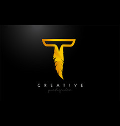 T golden gold feather letter logo icon design vector