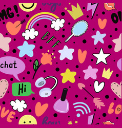teen girl is texting girl with a phone vector image