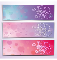 Three Valentine 2014 Banners Purple Pink vector image