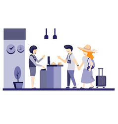 trendy hotel receptionist flat design vector image