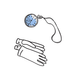 Vintage gloves and watch hand drawn icon vector