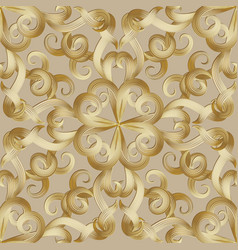 Vintage gold swirls seamless pattern ornnamental vector