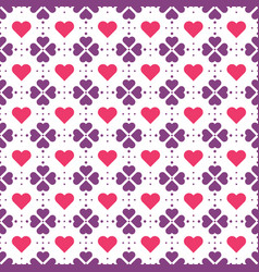 violet flowers and red hearts pattern vector image