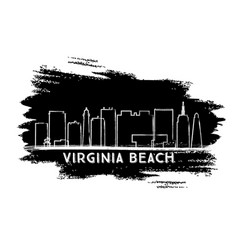 Virginia beach skyline silhouette hand drawn vector