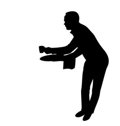 waiter silhouette serving a cup coffee vector image